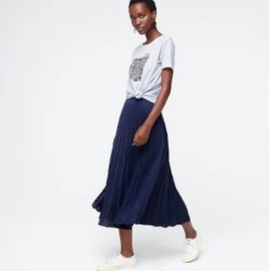 Jcrew Navy Pleated Midi Skirt, Size 2